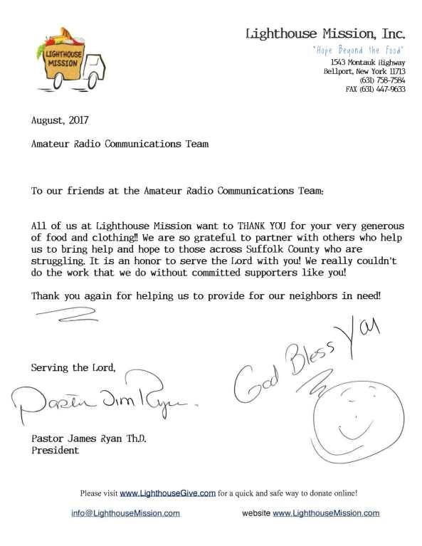 Lighthouse Mission Appreciation Letter